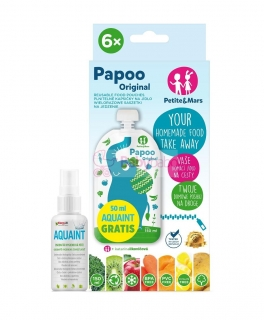 Kapsička na jedlo Papoo Original Elephant 6 ks+50ml Aquaint